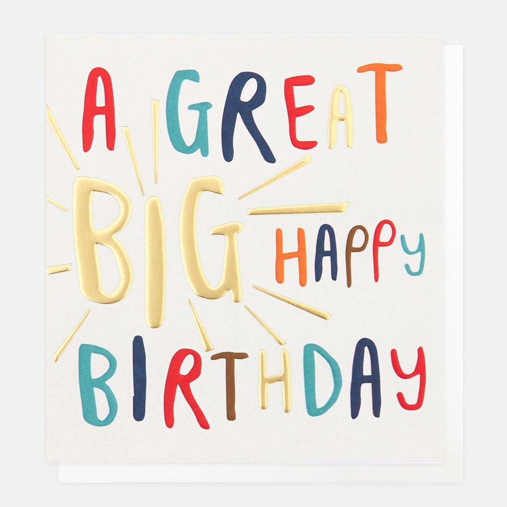 a great big happy birthday card