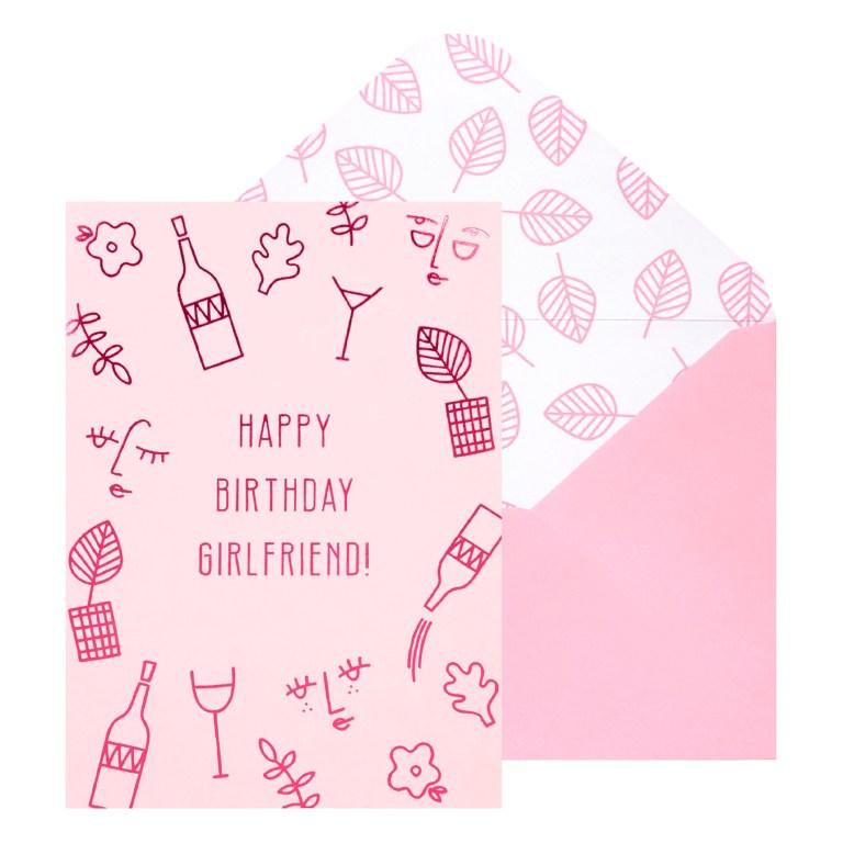 a6 greeting card happy birthday girlfriend pink