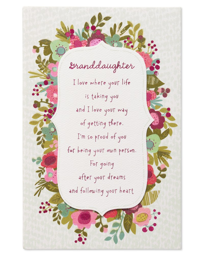 american greetings floral birthday card for granddaughter with glitter walmart