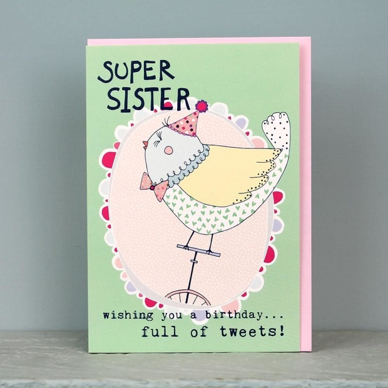bird super sister birthday card