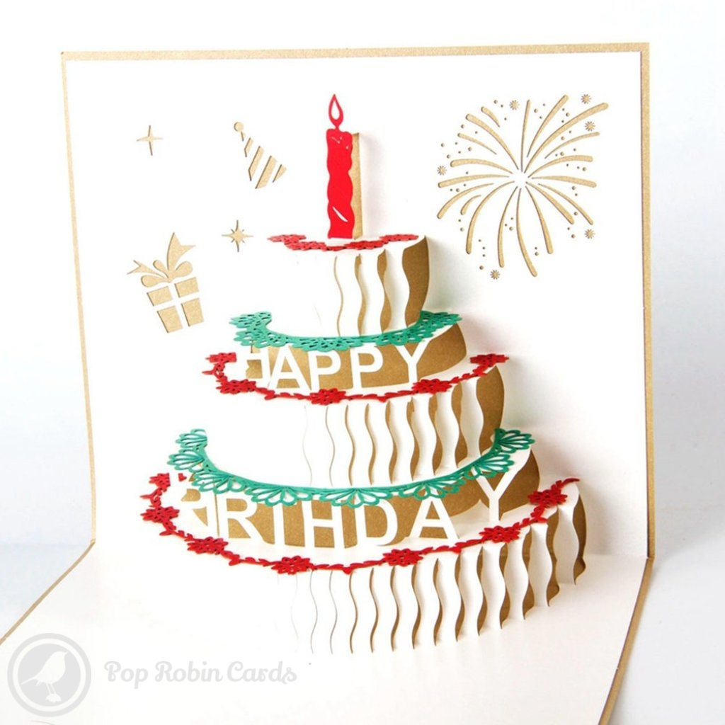 birthday cake with candles handmade 3d pop up birthday card