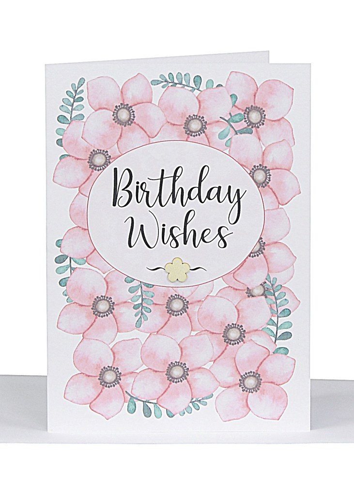 birthday wishes greeting card pink flowers lbg 279