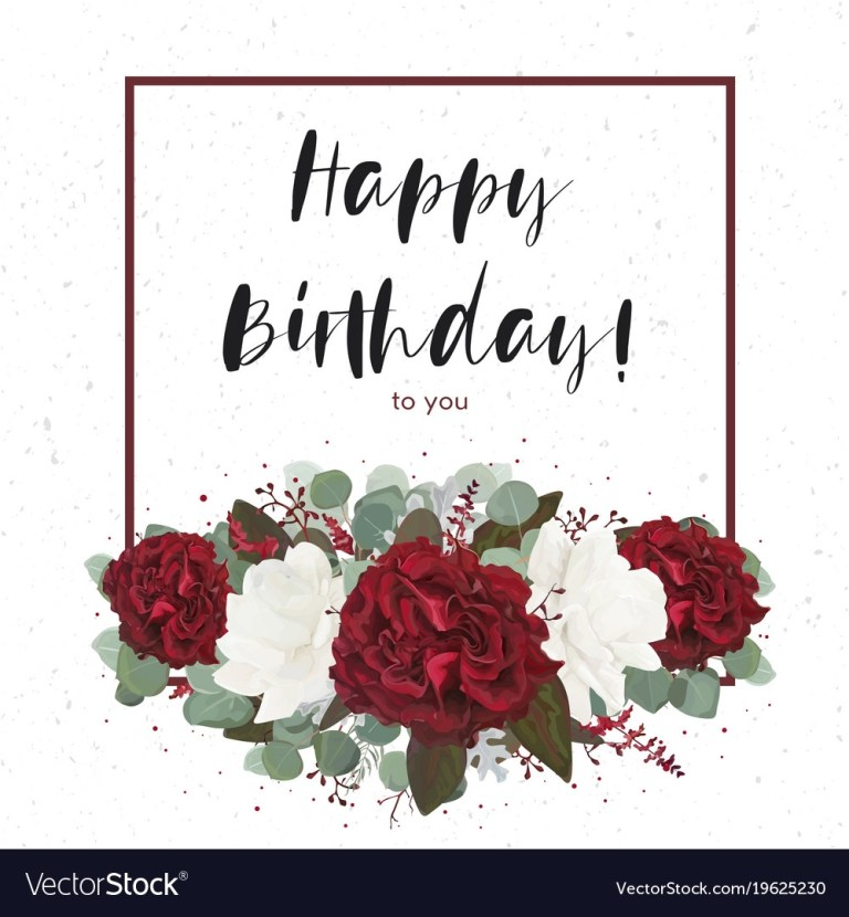 floral happy birthday greeting gift card design