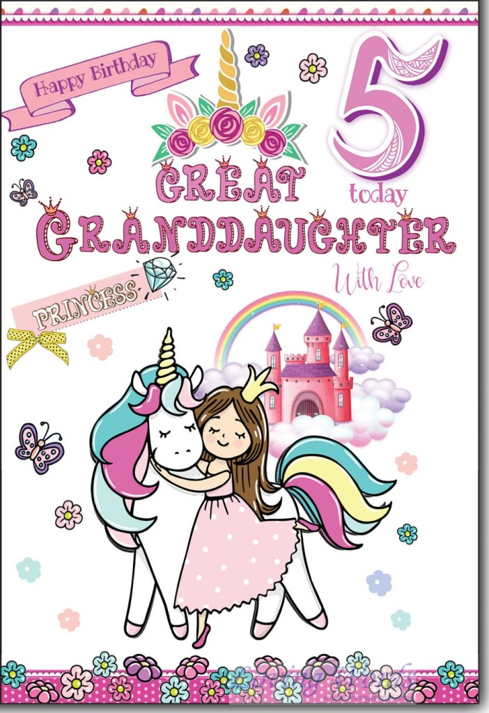 for great granddaughter 5th birthday greeting cards