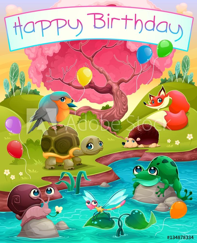 foto auf aludibond happy birthday card with cute animals in