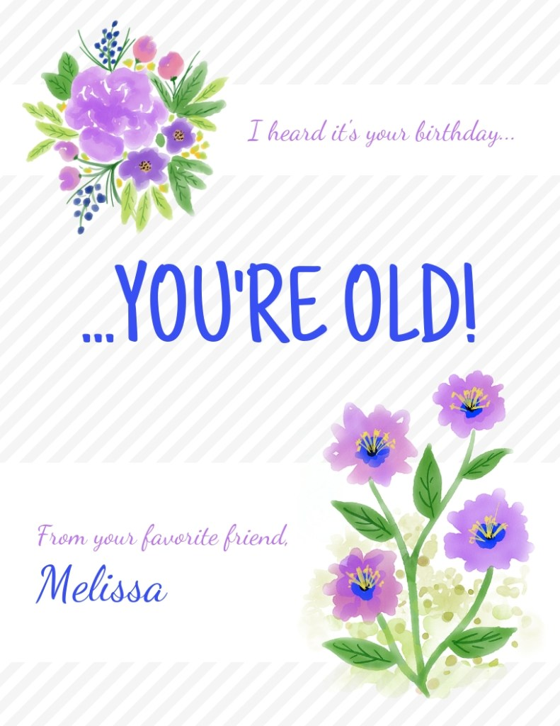 funny floral happy birthday card template