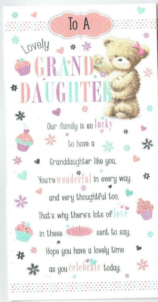 granddaughter birthday card choose from two designs
