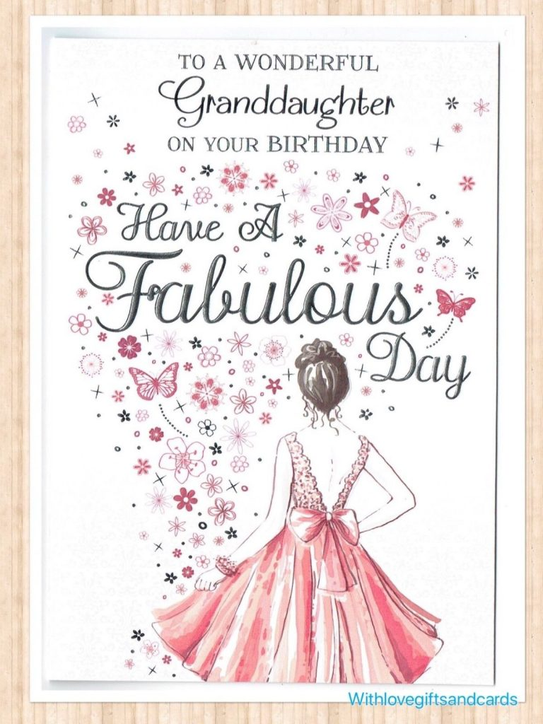 granddaughter birthday card embossed design with flowers and butterflies
