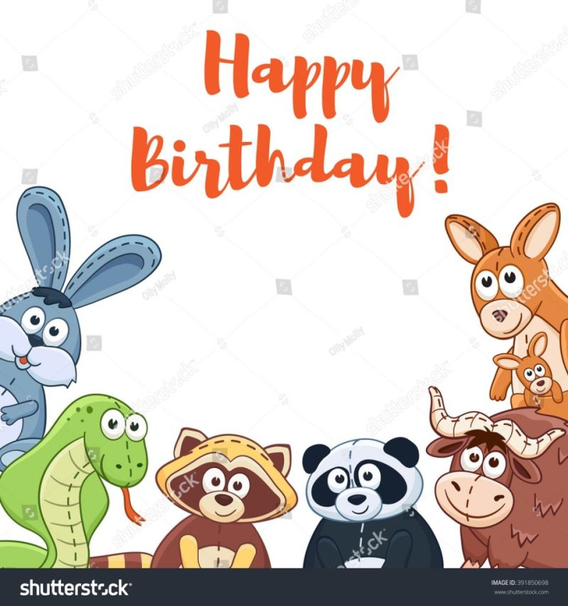 happy birthday card cute cartoon animals stock vektorgrafik
