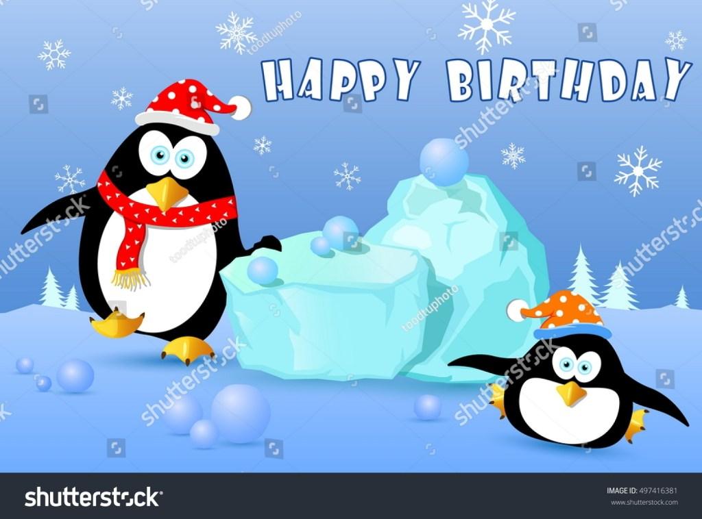 happy birthday card penguin on snow stock vektorgrafik