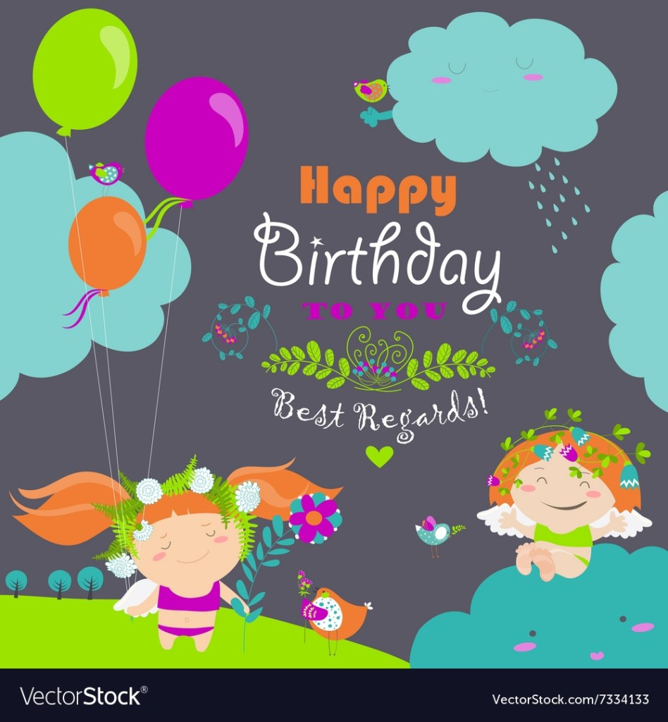 happy birthday card with cute angels