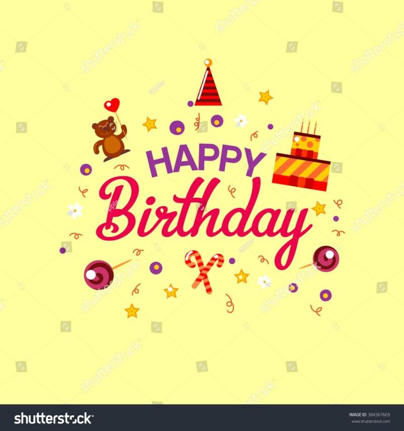 happy birthday gift card cake toys stock vektorgrafik