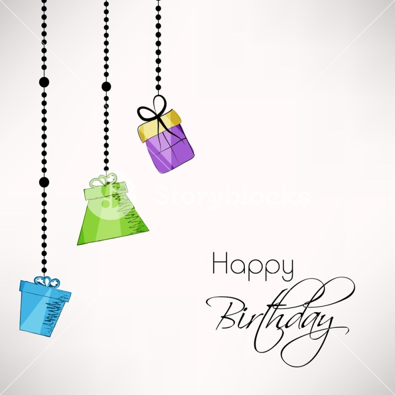 happy birthday greeting card or invitation card decorated