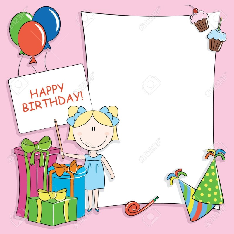 happy birthday greeting card with blank place for your wishes