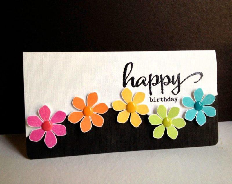 happy flowers happy birthday karten basteln karte