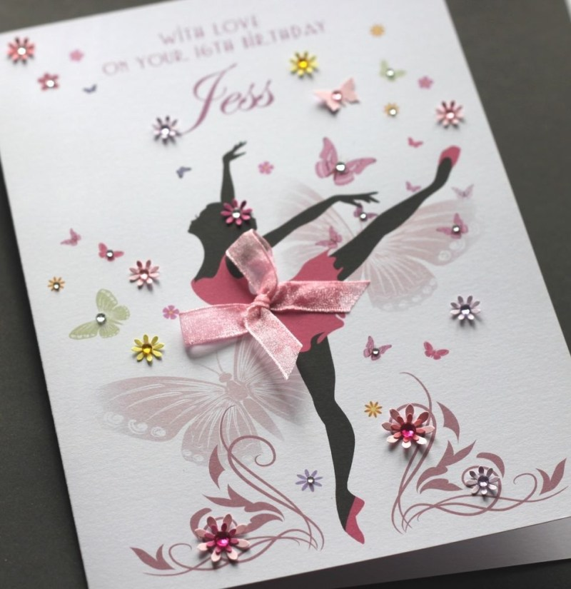 large a5 handmade personalised ballerina birthday card s