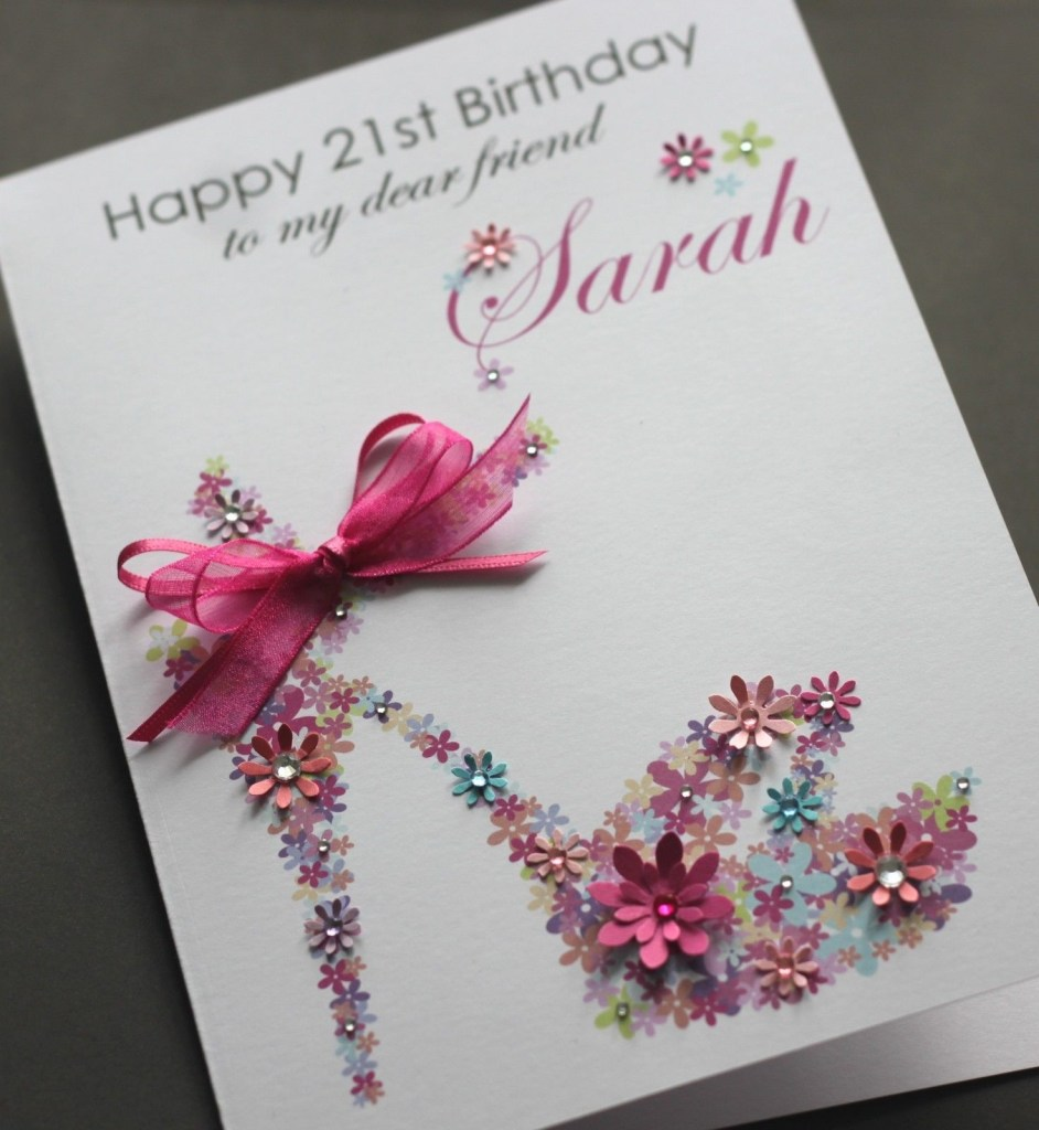 large a5 handmade personalised floral shoe birthday card