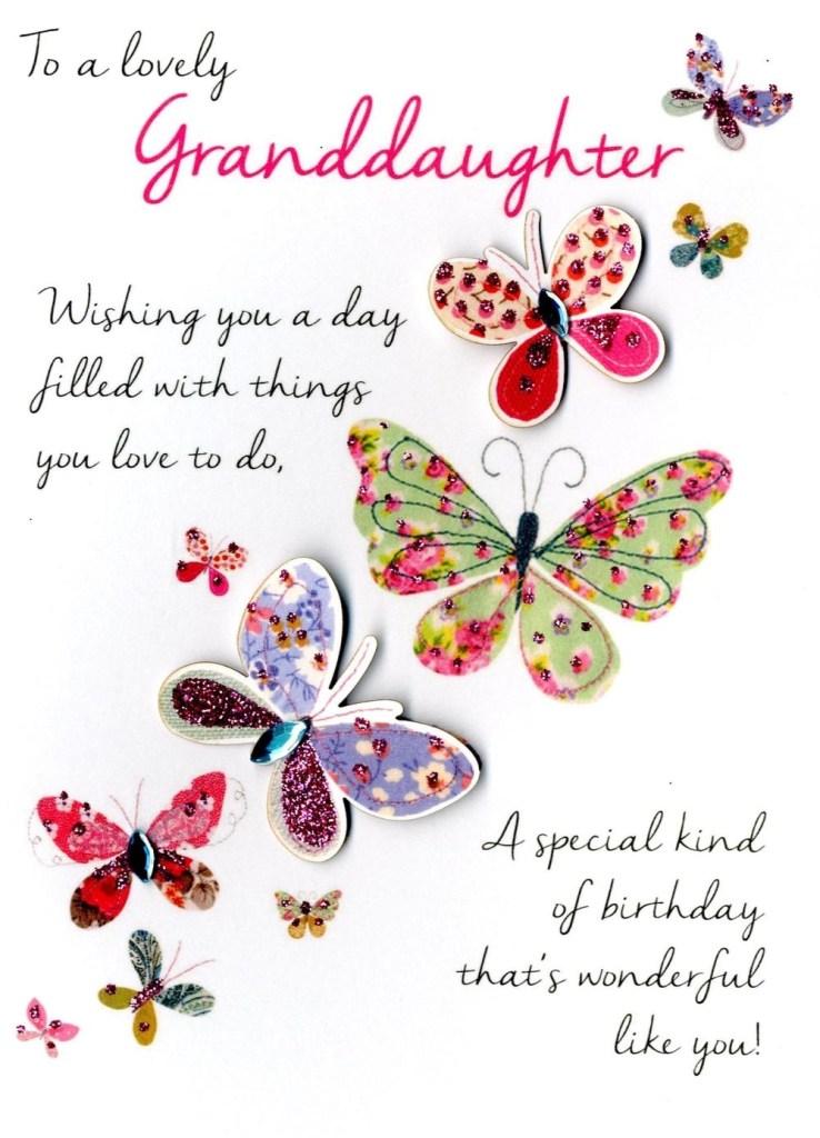 lovely granddaughter birthday greeting card