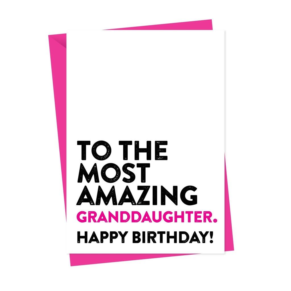 most amazing granddaughter birthday card