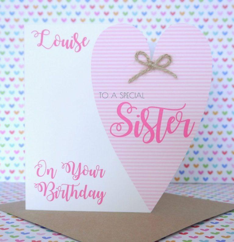 personalised handmade birthday card friend sister mum nanny auntie daughter