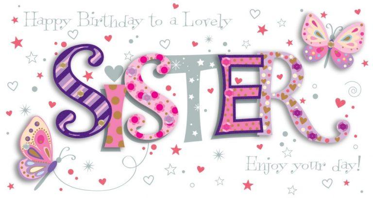 sister birthday handmade embellished greeting card