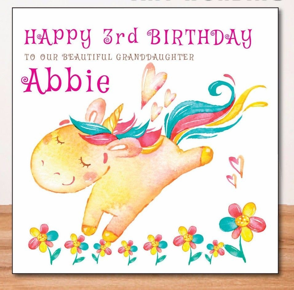 unicorn granddaughter personalised birthday card any relative any age