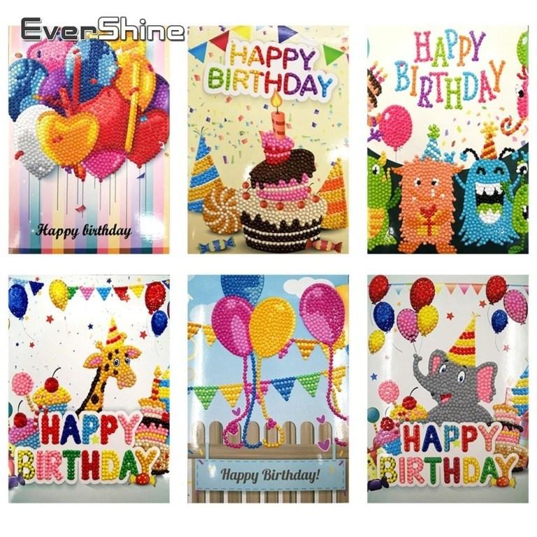 us 1201 31 offevershine happy birthday greeting cards diy diamond painting handmade greetings card diamond embroidery children birthday