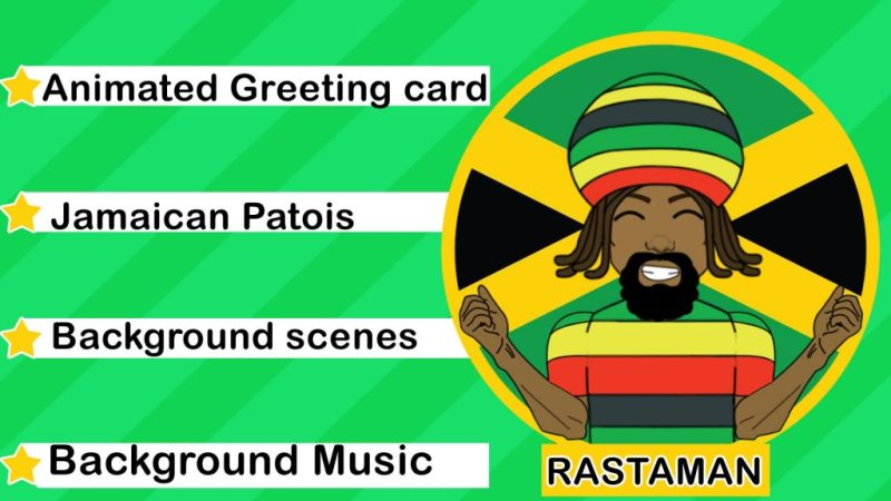 wish happy birthday as an animated jamaican rasta
