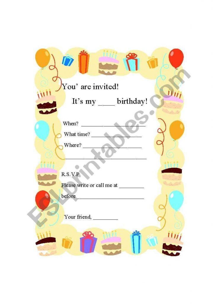 writing a birthday party invitation card esl worksheet