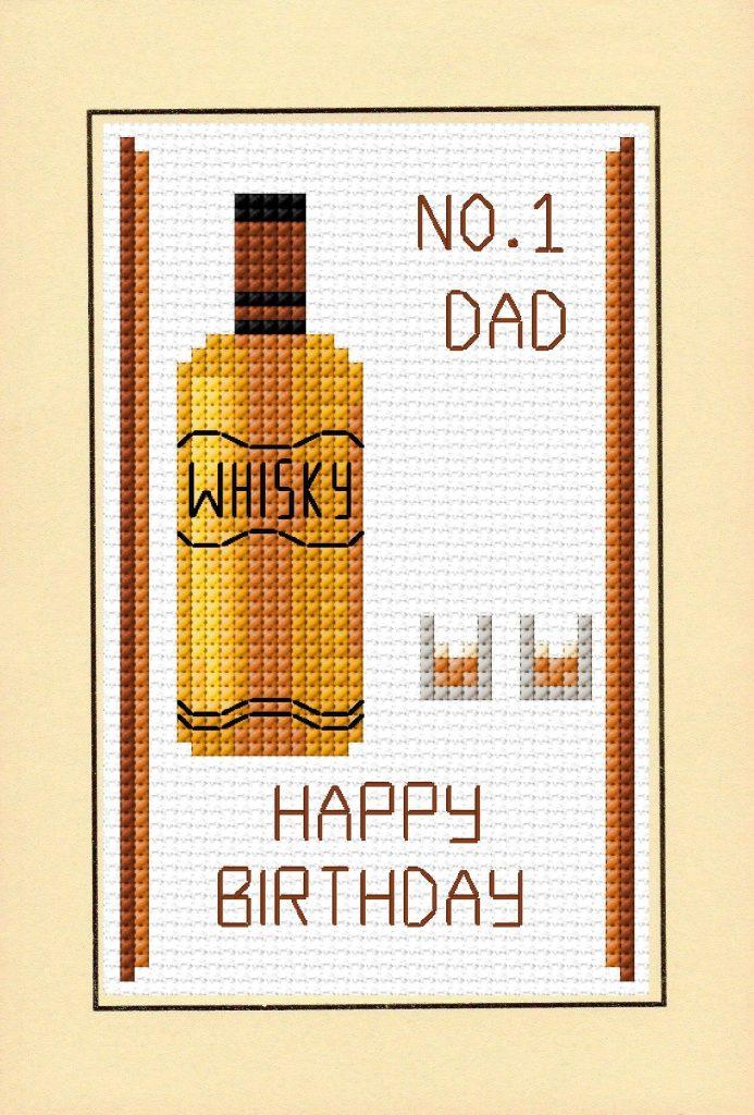 happy birthday no 1 dad whisky glasses cross stitch a6 card kit