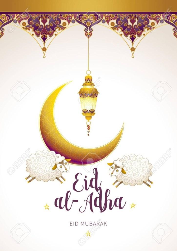 eid al adha card banner with golden