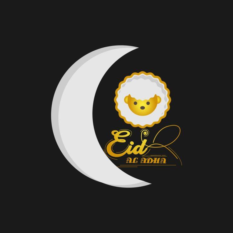 eid al adha greeting black background