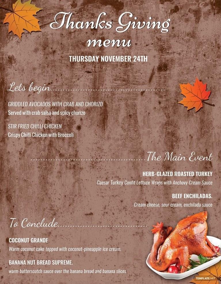 printable thanksgiving menu thanksgiving menu
