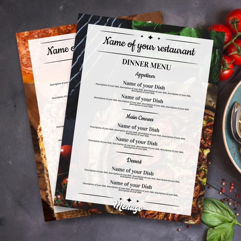 restaurant dinner menu templates