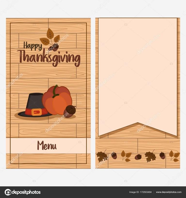 thanksgiving day menu template stock vector