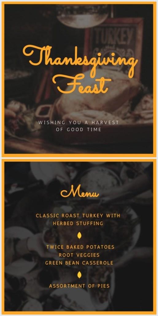 thanksgiving dinner menu template feast
