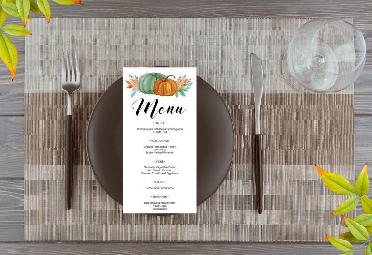 thanksgiving menu template autumn fall dinner menu