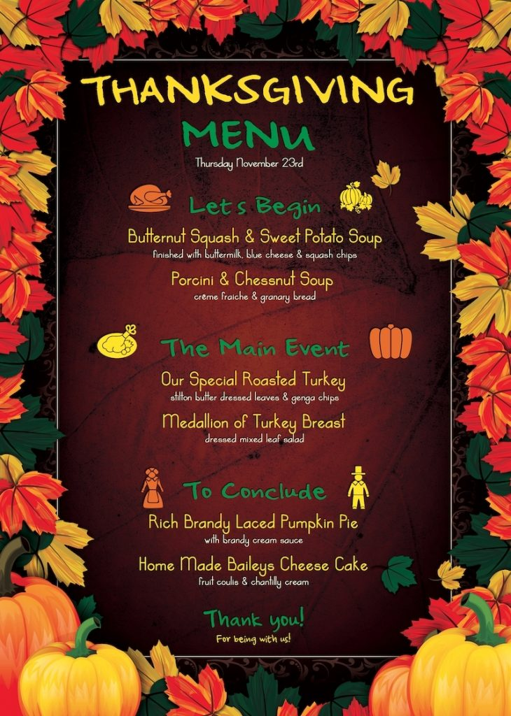 thanksgiving menu template psd design for photoshop
