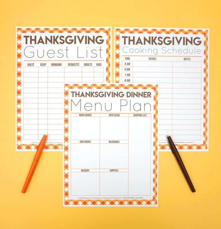 thanksgiving printables menu planner guest list