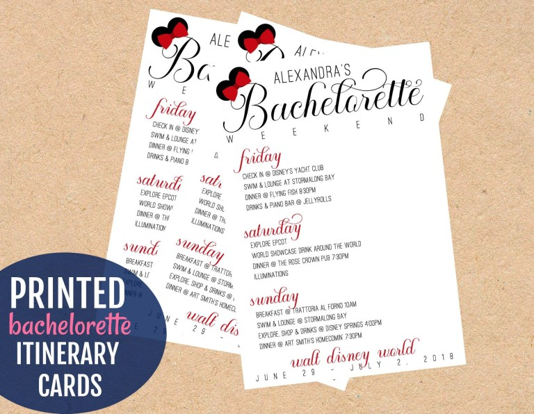 disney bachelorette party itinerary