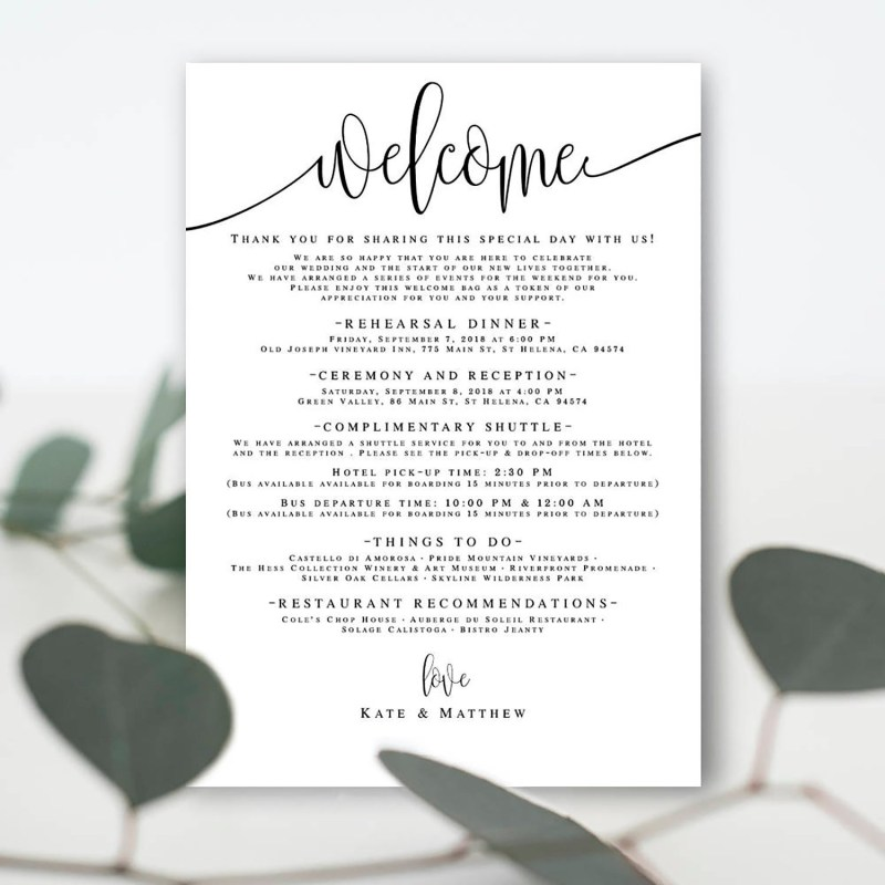 diy wedding itinerary