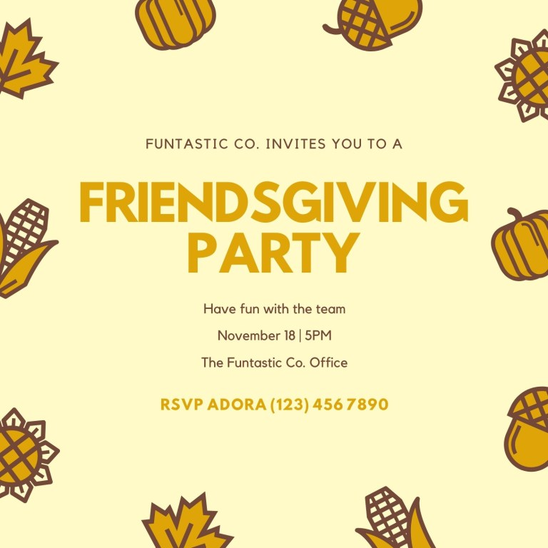 friendsgiving party invitation card