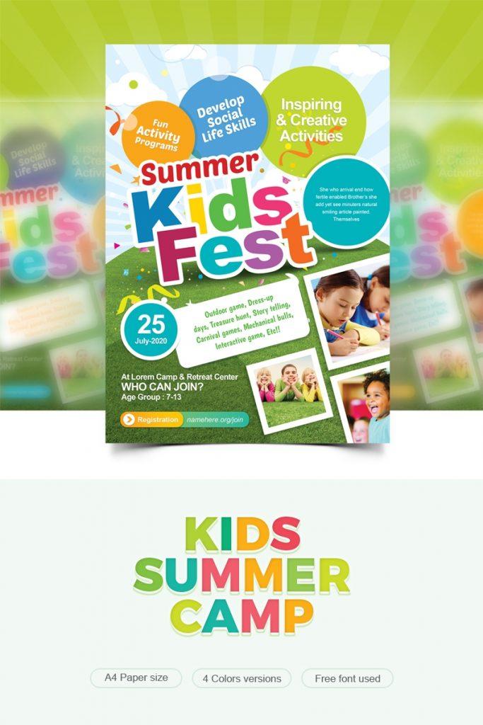 kids fest kids summer camp flyer