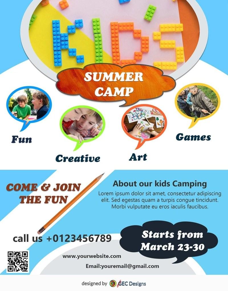 kids summer camp flyer design