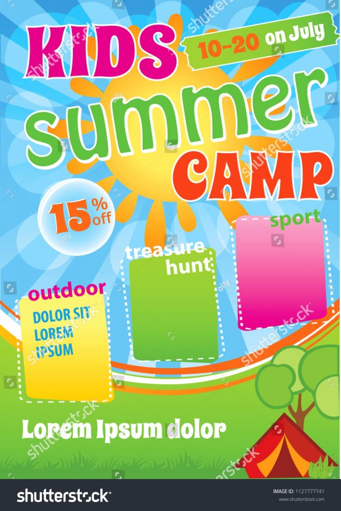 summer camp invitation vector