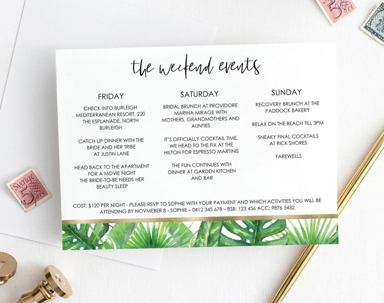 tropical greenery bachelorette itinerary template
