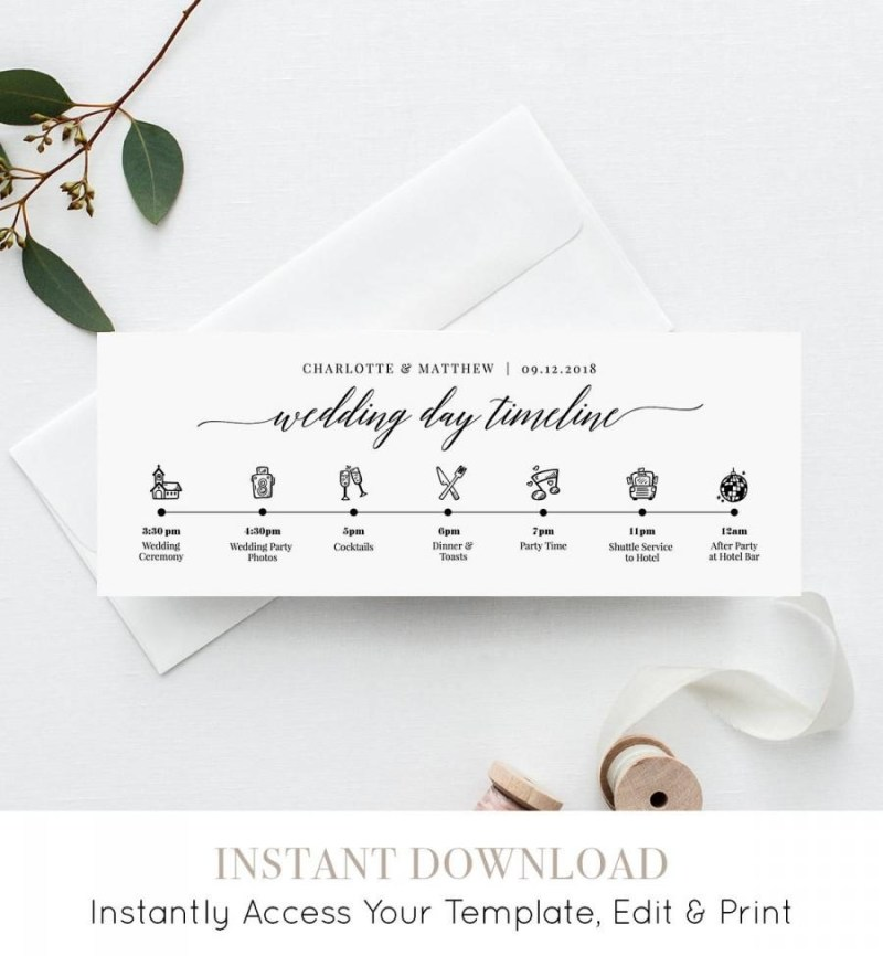 wedding day timeline card agenda