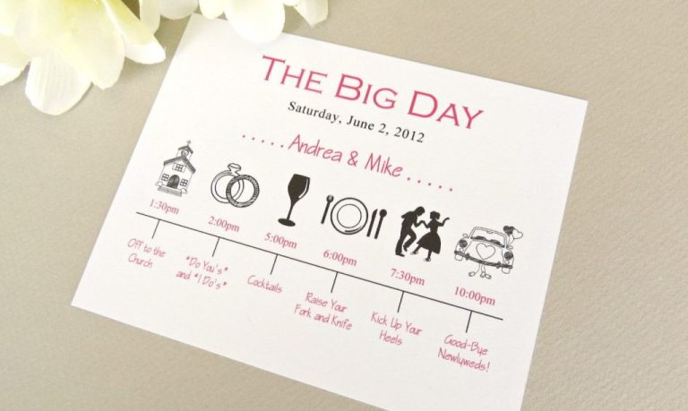 wedding day timeline schedule of events