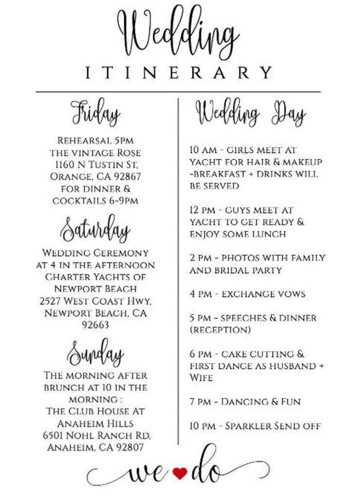 wedding itinerary template printable