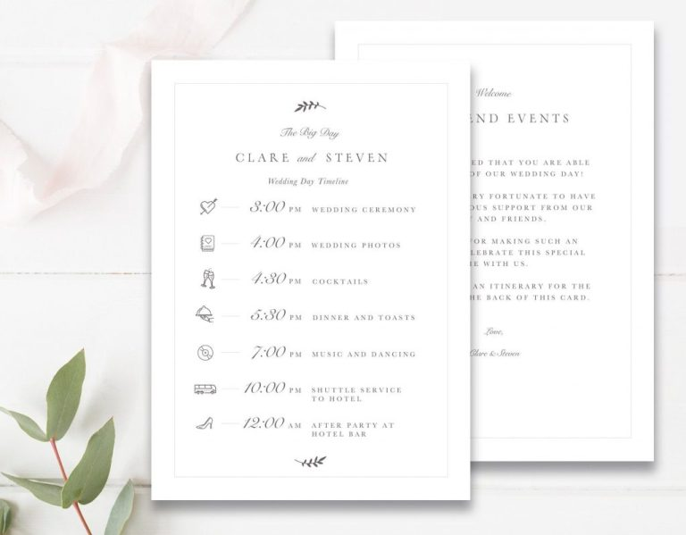 wedding timeline schedule of events card